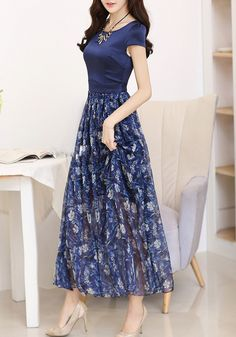 Blue Patchwork Pattern Round Neck Casual Silk Maxi Dress - Maxi Dresses - Dresses