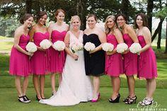 steph & gene's modern golf course wedding {destination wedding photographer} » e. gilbert photography - bright pink bridesmaid dresses