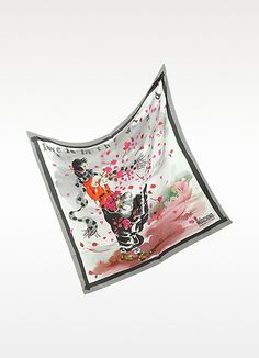 Moschino Love is in the Wind Silk Square Scarf Silk Crepe, Square Scarf, Rose Petals, Playing Dress Up, Moschino, Whimsical, Scarves, Gift Wrapping, Textiles