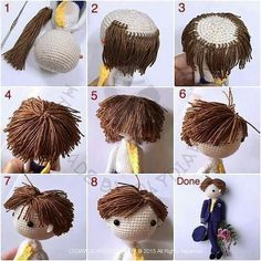 Sharing my tutorial of making short hair for doll. The most difficult part is. cut short the yarn with hair style.Crochet Pattern Candy Corn Amigurumi Hair Tie or Halloween Decoration- PDF file Permission to Sell wThis adorable Molly Crochet Doll Pattern Crochet Diy, Crochet Crafts, Crochet Projects, Crochet Braid, Diy Crafts, Amigurumi Tutorial, Doll Tutorial, Photo Tutorial, Knitted Dolls