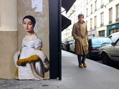 Part of artist and film-maker Julien de Casabianca's Outings Project - anonymous figures from paintings in museums are reproduced in street art to bring them out into the open (via Colossal)
