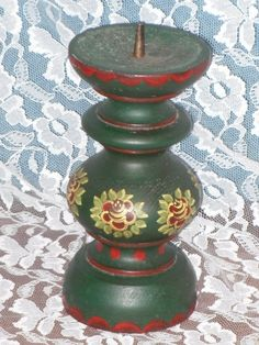 Folk Art Turned Wood Pillar Candle Holder Stand Tole Painted