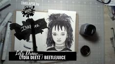 Drawing Lydia Deetz from Beetlejuice - Bad Ass Ladies of Horror - Inktober - timelapse art Beetlejuice, Inktober, Badass, Horror, Halloween, Drawings, Lady, Sketches, Drawing