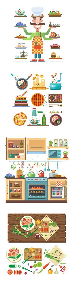 Cozy kitchen: chef with dishes, food in cooking process, interior of kitchen, table with vegetables. Vector flat illustration and icon set