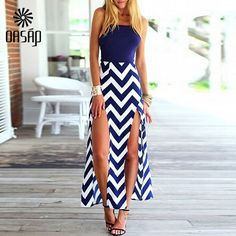 Magnetic Aura Navy Blue White Chevron Stripe Spaghetti Strap Square Neck Low Scoop Back Double Slit Maxi Dress - Sold Out Side Slit Maxi Dress, Chiffon Maxi Dress, Modest Dresses, Pretty Dresses, Summer Dresses, Casual Dresses, Beach Dresses, Summer Outfit, Sexy Dresses