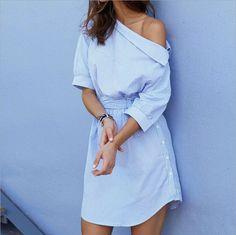 Dew shoulder sexy blue dress