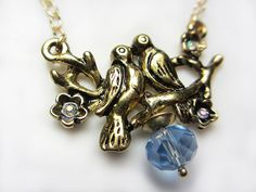 SET Antique Gold Kissing Birds Necklace Love Birds on by NataliaKh, $25.77