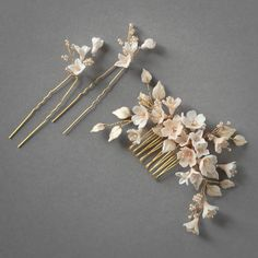 This dreamy palette of soft champagne, pale gold and blush tones was inspired by the softness of light upon delicate cherry blossoms Wedding Hair Pins, Wedding Hair Flowers, Headpiece Wedding, Wedding Hair Accessories, Bridal Headpieces, Bridal Comb, Wedding Veils, Bouquet Wedding, Fashion Accessories