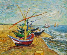 Fishing Boats On The Beach, 1888 by Vincent Van Gogh