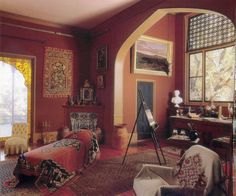 A studio in the mansion Olana House, owned by Frederic Edwin Church, 1826-1900, one of the most influential American romantic landscape painters of the Hudson River School. It is located near the town of Hudson, New York