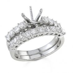 Bijan Feré Platinum Round Diamond Wedding Set