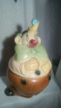 Vintage Brush Pottery Clown Cookie Jar