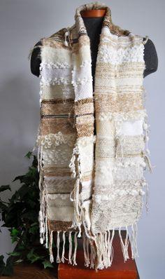 Hand Woven Saori Style Scarf Shawl. $95.00, via Etsy.