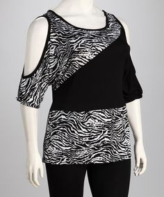 Take a look at this Yummy Black & White Zebra Plus-Size Cutout Top by Yummy on #zulily today!