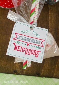 Neighbor Gift Ideas & Free Printable Wrapped Three Ways!
