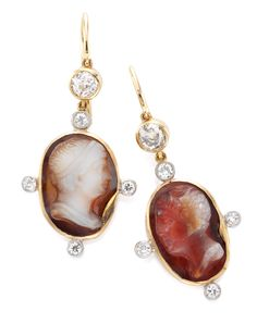 A Pair of Antique Cameo Agate and Diamond Earrings. Mounted in Pink Gold, circa 1900.   Available at FD. www-fd-inspired.com
