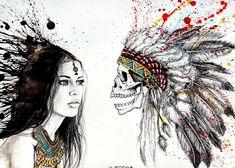Skull. Watercolor, Chinese ink, pencil. Pencil, Skull, Chinese, Paintings, Watercolor, Ink, Board, Pen And Wash, Watercolor Painting