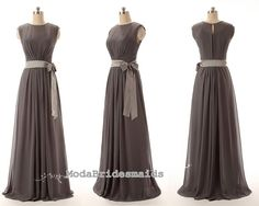 Charcoal grey chiffon long floor length prom by ModaBridesmaids, $108.00
