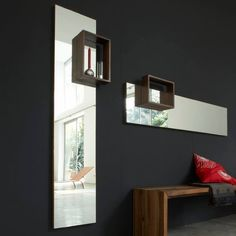 Frames by Marina Bautier - Mirror with a decorative frame/shelf in solid American walnut.