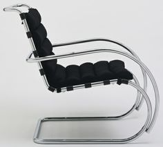 """MR Lounge Chair (model 44)  Ludwig Mies van der Rohe (American, born Germany. 1886-1969)    1931. Chrome-plated tubular steel and linen, 33 x 23 9/16 x 37 9/16"""" (83.8 x 59.8 x 95.4 cm). Manufactured by Knoll International, Inc., New York, NY. Gift of Knoll International, Inc. © 2012 Artists Rights Society (ARS), New York / VG Bild-Kunst, Bonn"""