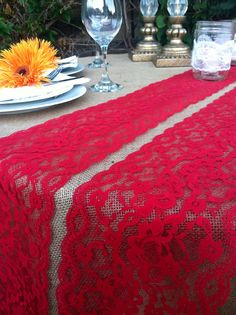DARK RED VINTAGE Lace/Table Runner/Weddings/2 by LovelyLaceDesigns red lace, burlap flower, flower, brooch, Vintage red Lace, wedding lace, wedding supplies, table cloth, black and red wedding, DIY, table runner, weddings, engagement, burlap, vintage, wedding designs, lace, lovely lace designs, floral lace, shabby chic wedding, shabby chic designs, mason jar, Christmas lace, Christmas table runner
