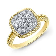 COOL 2B SQUARE! Square has never been so hip--made up of pave-set diamonds  (totaling .44 carat) and framed by a lasso and beaded double shank of 14K yellow gold, this refreshing new look is high fashion-friendly.  Goldex Fine Jewelry ~ (323) 726-7181.