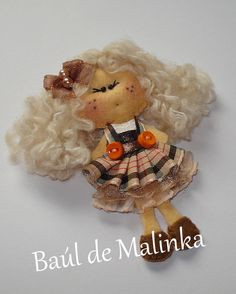 Image detail for -Felt doll Fabric Brooch Art Brooch Wearable Art by Bauldemalinka