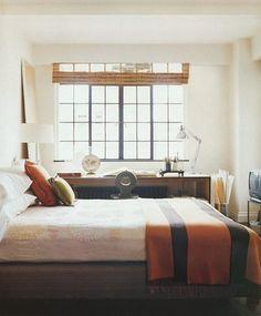 palette, blinds, dark window frames