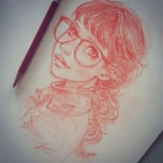 This afternoons #portrait #portraitsketch #girlwithglasses #redhead #colerase #pencil #sketching #face #practice #instaart #drawing #characterdesign .. keep on keepin on!