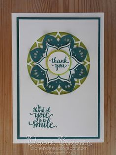 Clean & fresh handmade thank you card using Stampin' Up Eastern Beauty - Eastern Medallions stamp & die bundle & Layering Circle thinlits dies. Card by Di Barnes #colourmehappy 2017-18 Annual Catalogue