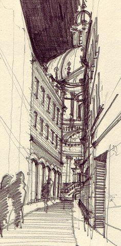 Schmalzmarkt Würzburg,    pencil drawing