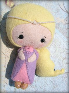 Rapunzel hand stitched felt doll  collectable by 1SweetStitch