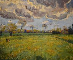 Art of the Day: Van Gogh, Landscape under a Stormy Sky, May 1888. Oil on canvas, 59.5 x 70 cm. Private collection; on extended loan to the Fondation Gianadda in Martigny, Switzerland.