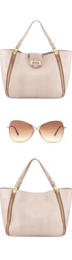 Tom Ford Sedgwick Medium Python Zip Tote Bag, Nude and Colette Metal-Frame Butterfly Sunglasses, Rose Golden