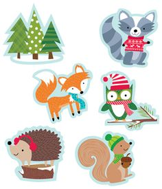 Dress up bulletin boards, rooms, hallways, and common areas for winter with our adorable Woodland Friends cut-outs. These charming cut-outs feature colorful woodland animals (owl, fox, hedgehog, squirrel and raccoon) dressed for the snow and cold winter season.