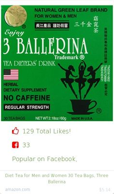 Top christmas gift on Facebook.  Top christmas gift on undefined 129 people likes on Internet. 33 facebook likes. 96 thumbs-up on .undefined three ballerina amazon christmas gift. diet tea for men and women 30 tea bags three ballerina from amazon christmas gifts. http://www.MostLikedGifts.com/top-popular-christmas-gifts/amazom-christmas-gift-B0074ESQB0-diet-tea-for-men-and-women-30-tea-bags-three-ballerina