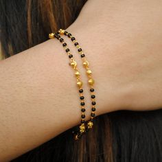 Solid Yellow Gold Mangalsutra Bracelet, Gold Chain with Black Beads, Layered Gold Bracelet, Indian Dainty Gold Bracelet Gold Bracelet Indian, 18k Gold Bracelet, Bracelet Cuir, Indian Jewelry, Diamond Bracelets, Gold Bracelet For Women, Mangalsutra Bracelet, Gold Mangalsutra, Bracelets Fins