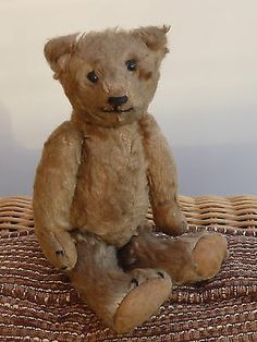 VERY OLD SMALL ANTIQUE TEDDY BEAR WITH BOOT BUTTON EYES 9""