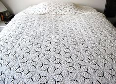 Antique Crochet Bed Cover by CheekyVintageCloset on Etsy, $224.00