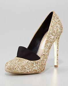 GlitterMEVEGAN Loafer Pump by Stella McCartney at Neiman Marcus. >> Fun with an LBD & black tights for a holiday party.