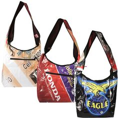 """Yasmin Shoulder Bags with Assorted Prints, made of recycled billboards  Crafted by Artisans in India  Measure 13-1/2"""" high x 17"""" wide x 6"""" deep"""
