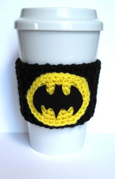 This Batman crochet coffee cup cozy will protect your hands from hot and cold drinks! It will fit most standard coffee house cups.  The cozy is handmade by myself in a smoke-free home. I used an acrylic yarn for the cozy and the yellow oval. The bat symbol is cut out of a stiff felt and then securely attached to the oval with a high temp hot glue.  Each cozy is made to order just for you! Please check shipping policies for current turn around times.  If you have any questions or would like a…