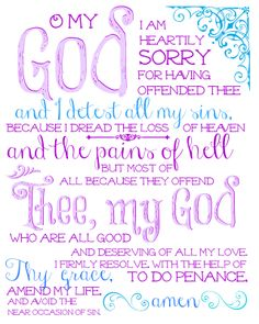 Catholic All Year~the act of contrition-LOVE this!