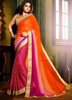 Buy Rust Georgette Saree With Blouse-VI071