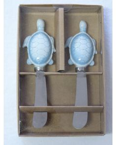 Tropical Coastal Aqua Sea Turtles Spreaders Set of 2 (identical).