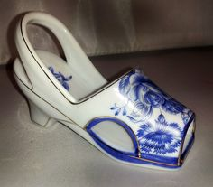 Vintage Collectible Blue Rose Imperial Porcelain Shoe Made in China