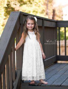 5c740967362 White Lace Sweetheart Dress Keyhole Back. Fall Flower GirlToddler ...