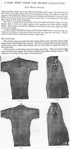 A Mail Shirt from the Hearst Collection – E. Martin Burgess. A 14th century riveted European riveted mail shirt, made with a rare combination of alternating solid and wedge riveted links. http://www.erikds.com/pdf/tmrs_pdf_13.pdf