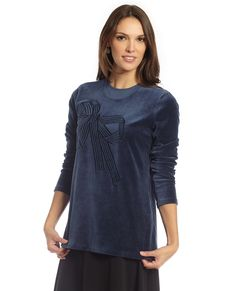 Layered Velour Maternity Top With Bow Motif at The Lingerie Shop New York 913ac699c