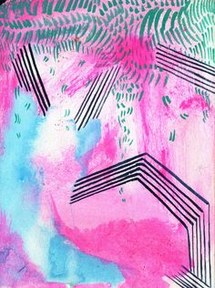 "kaylanewell:  rain again watercolor, gouache and glitter on paper 71/2"" x 51/2"" september 2013"